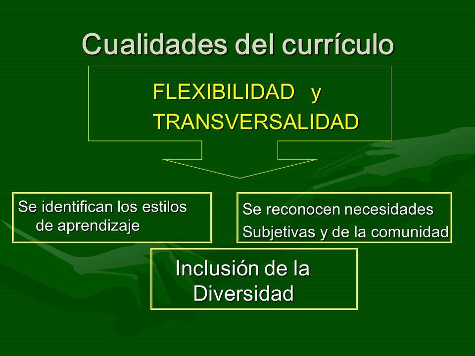 Cualidades del currículo FLEXIBILIDAD y TRANSVERSALIDAD Se identifican los estilos de aprendizaje Se reconocen necesidades Subjetivas y de la comunida