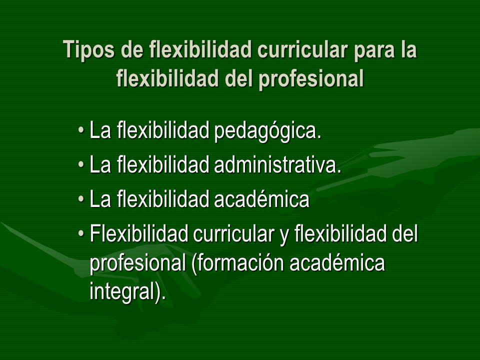 Tipos de flexibilidad curricular para la flexibilidad del profesional La flexibilidad pedagógica.La flexibilidad pedagógica. La flexibilidad administr