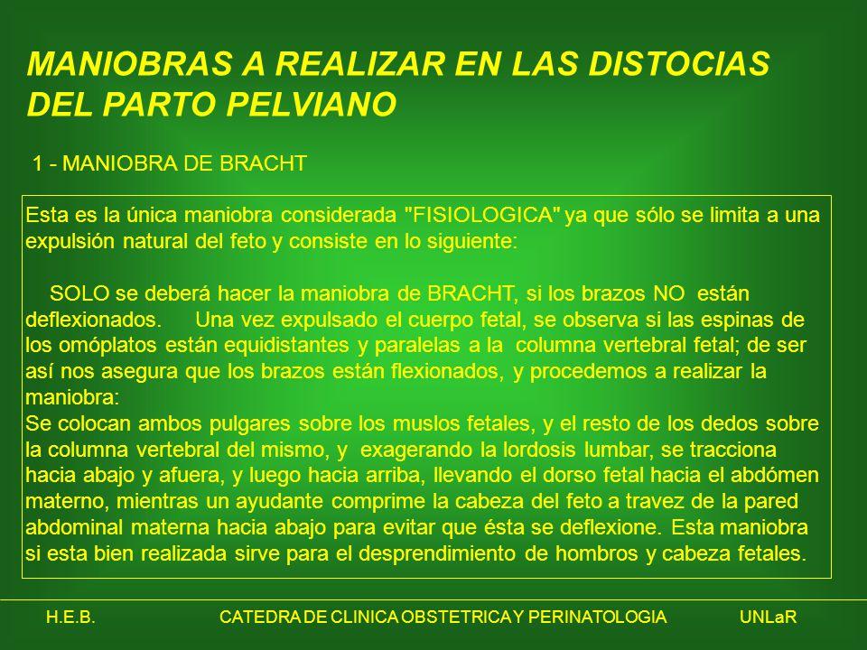 H.E.B.CATEDRA DE CLINICA OBSTETRICA Y PERINATOLOGIAUNLaR MANIOBRAS A REALIZAR EN LAS DISTOCIAS DEL PARTO PELVIANO 1 - MANIOBRA DE BRACHT Esta es la ún