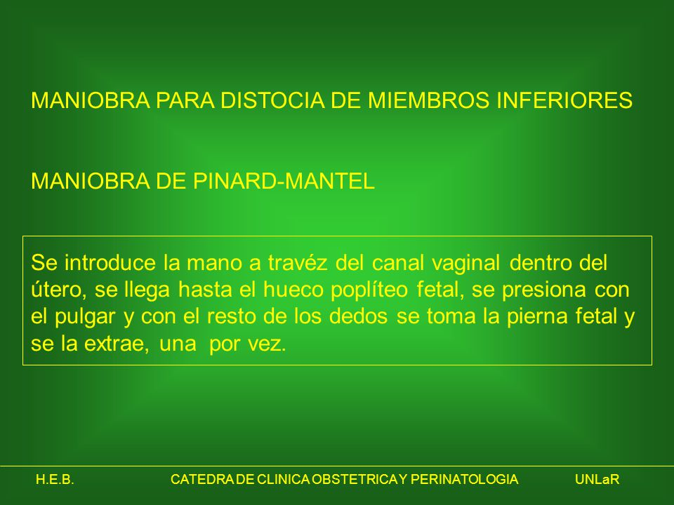H.E.B.CATEDRA DE CLINICA OBSTETRICA Y PERINATOLOGIAUNLaR MANIOBRA PARA DISTOCIA DE MIEMBROS INFERIORES MANIOBRA DE PINARD-MANTEL Se introduce la mano