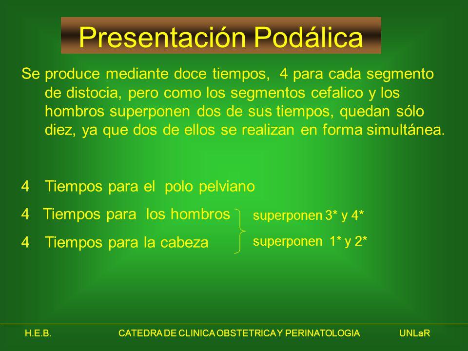 H.E.B.CATEDRA DE CLINICA OBSTETRICA Y PERINATOLOGIAUNLaR Presentación Podálica Se produce mediante doce tiempos, 4 para cada segmento de distocia, per