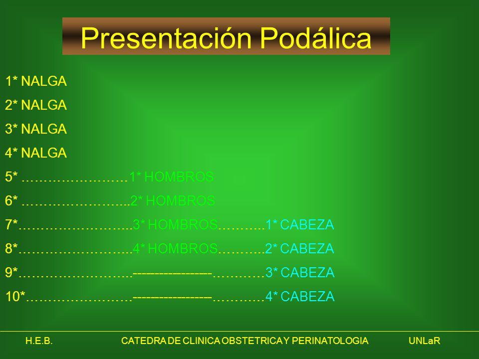 H.E.B.CATEDRA DE CLINICA OBSTETRICA Y PERINATOLOGIAUNLaR Presentación Podálica 1* NALGA 2* NALGA 3* NALGA 4* NALGA 5* ……………………1* HOMBROS 6* …………………...
