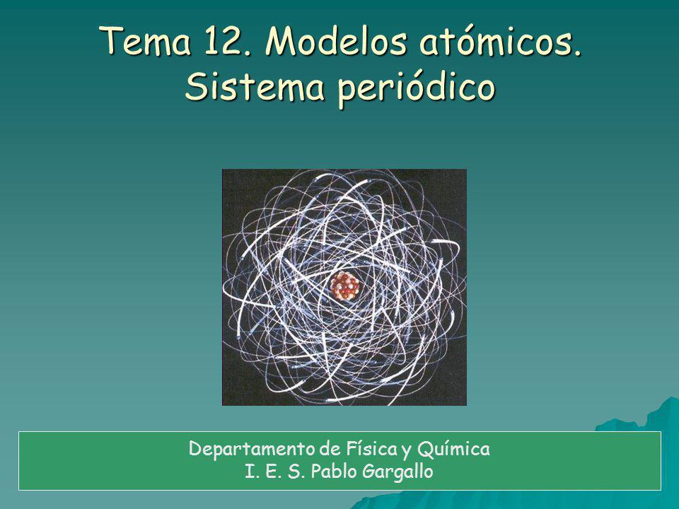 Tema 12.Modelos atómicos. Sistema periódico Departamento de Física y Química I.
