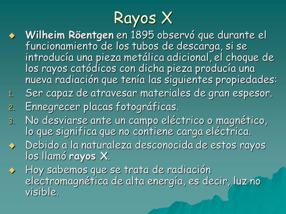 Rayos X Wilheim Röentgen en 1895 observó que durante el funcionamiento de los tubos de descarga, si se introducía una pieza metálica adicional, el choque de los rayos catódicos con dicha pieza producía una nueva radiación que tenía las siguientes propiedades: Wilheim Röentgen en 1895 observó que durante el funcionamiento de los tubos de descarga, si se introducía una pieza metálica adicional, el choque de los rayos catódicos con dicha pieza producía una nueva radiación que tenía las siguientes propiedades: 1.