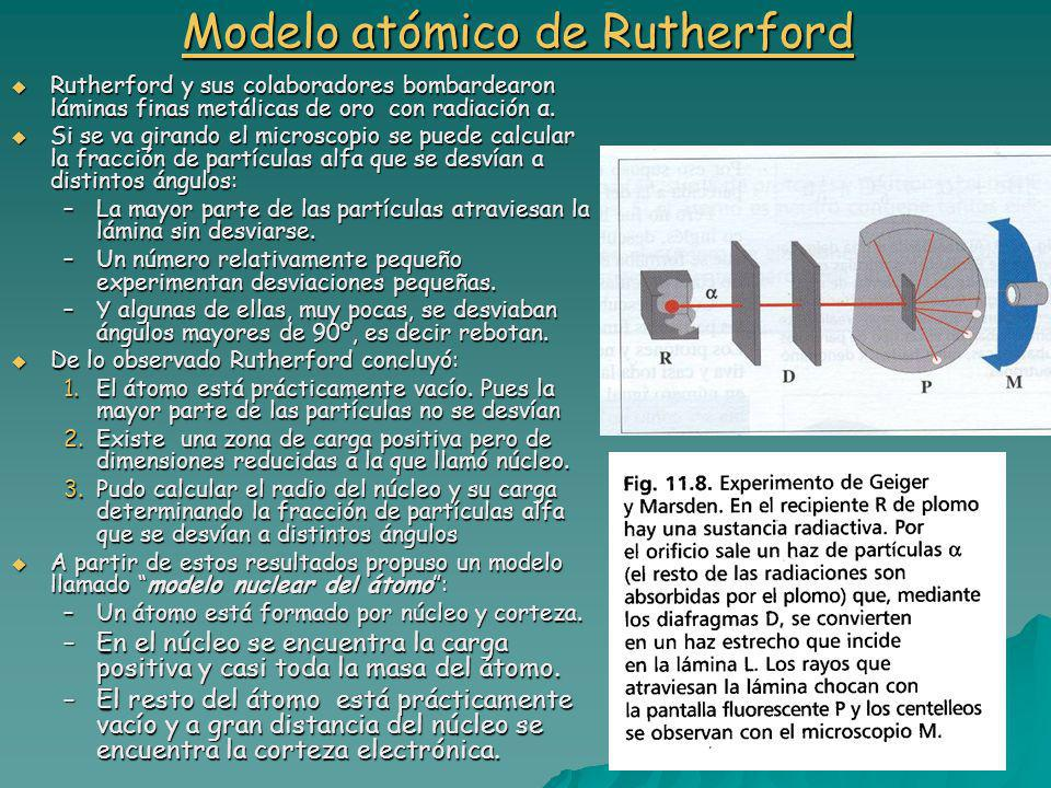 Modelo atómico de Rutherford Modelo atómico de Rutherford Rutherford y sus colaboradores bombardearon láminas finas metálicas de oro con radiación α.