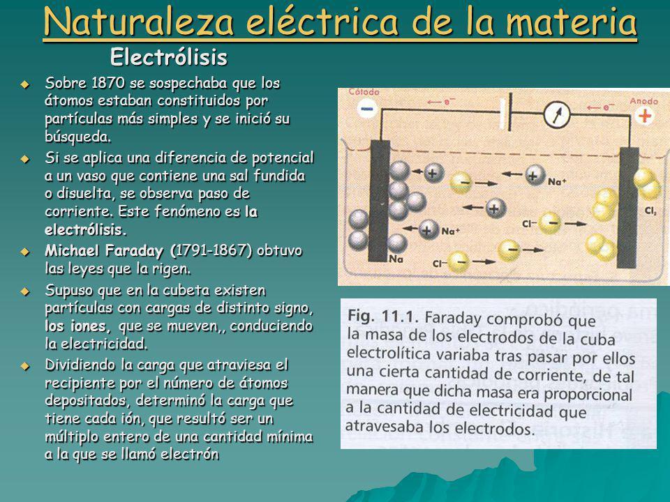 Naturaleza eléctrica de la materia Naturaleza eléctrica de la materiaElectrólisis Sobre 1870 se sospechaba que los átomos estaban constituidos por partículas más simples y se inició su búsqueda.