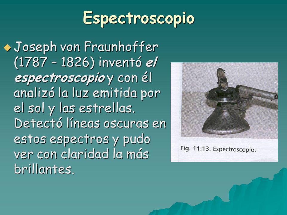 Espectroscopio Joseph von Fraunhoffer (1787 – 1826) inventó el espectroscopio y con él analizó la luz emitida por el sol y las estrellas.