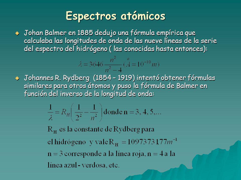 Espectros atómicos Johan Balmer en 1885 dedujo una fórmula empírica que calculaba las longitudes de onda de las nueve líneas de la serie del espectro del hidrógeno ( las conocidas hasta entonces): Johan Balmer en 1885 dedujo una fórmula empírica que calculaba las longitudes de onda de las nueve líneas de la serie del espectro del hidrógeno ( las conocidas hasta entonces): Johannes R.