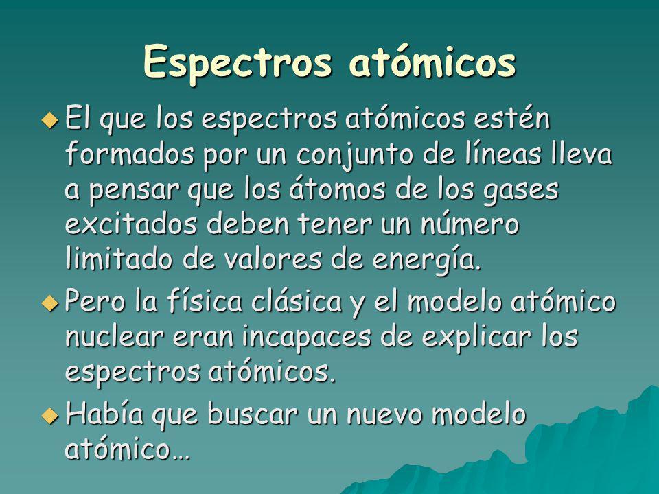 Espectros atómicos El que los espectros atómicos estén formados por un conjunto de líneas lleva a pensar que los átomos de los gases excitados deben tener un número limitado de valores de energía.