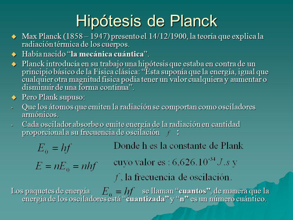 Hipótesis de Planck Max Planck (1858 – 1947) presento el 14/12/1900, la teoría que explica la radiación térmica de los cuerpos.