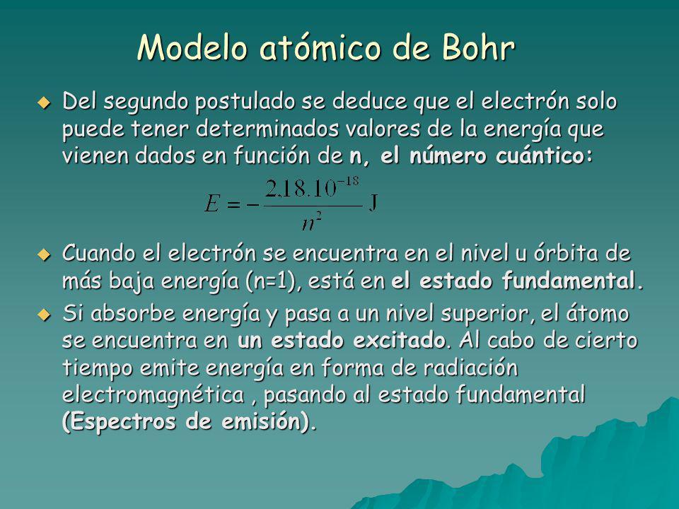 Modelo atómico de Bohr Del segundo postulado se deduce que el electrón solo puede tener determinados valores de la energía que vienen dados en función de n, el número cuántico: Del segundo postulado se deduce que el electrón solo puede tener determinados valores de la energía que vienen dados en función de n, el número cuántico: Cuando el electrón se encuentra en el nivel u órbita de más baja energía (n=1), está en el estado fundamental.