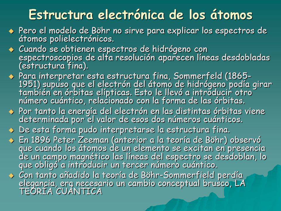 Estructura electrónica de los átomos Pero el modelo de Böhr no sirve para explicar los espectros de átomos polielectrónicos.