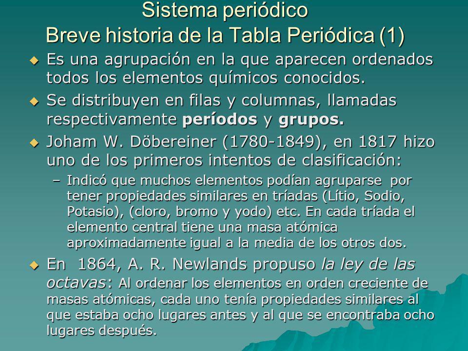Sistema periódico Breve historia de la Tabla Periódica (1) Es una agrupación en la que aparecen ordenados todos los elementos químicos conocidos.