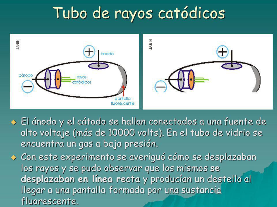 Tubo de rayos catódicos El ánodo y el cátodo se hallan conectados a una fuente de alto voltaje (más de 10000 volts).