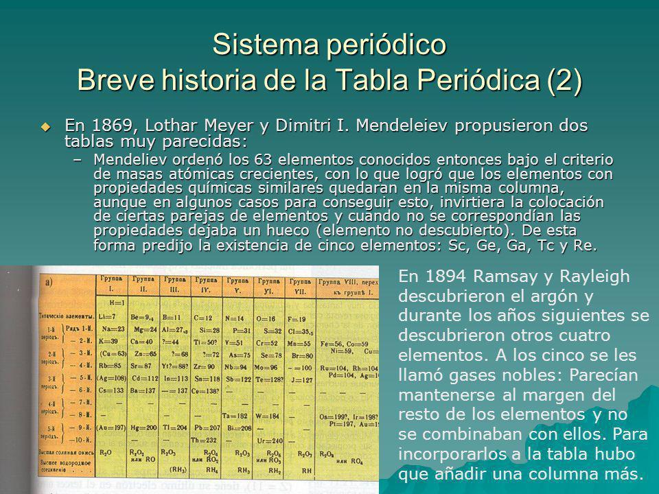 Sistema periódico Breve historia de la Tabla Periódica (2) En 1869, Lothar Meyer y Dimitri I.