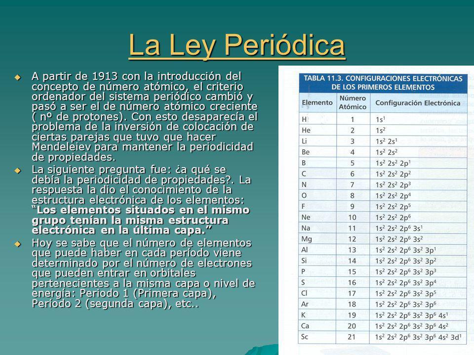 La Ley Periódica La Ley Periódica A partir de 1913 con la introducción del concepto de número atómico, el criterio ordenador del sistema periódico cambió y pasó a ser el de número atómico creciente ( nº de protones).