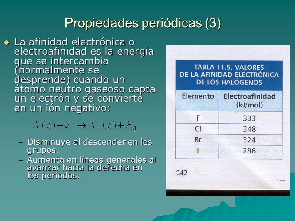 Propiedades periódicas (3) La afinidad electrónica o electroafinidad es la energía que se intercambia (normalmente se desprende) cuando un átomo neutro gaseoso capta un electrón y se convierte en un ión negativo: La afinidad electrónica o electroafinidad es la energía que se intercambia (normalmente se desprende) cuando un átomo neutro gaseoso capta un electrón y se convierte en un ión negativo: –Disminuye al descender en los grupos.