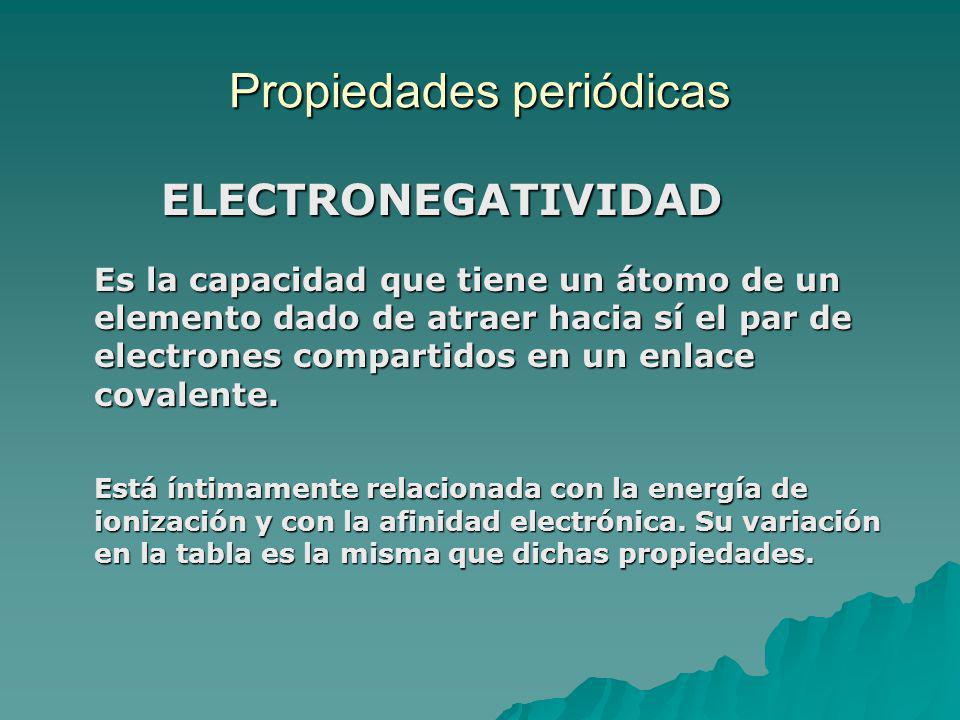 Propiedades periódicas ELECTRONEGATIVIDAD ELECTRONEGATIVIDAD Es la capacidad que tiene un átomo de un elemento dado de atraer hacia sí el par de electrones compartidos en un enlace covalente.