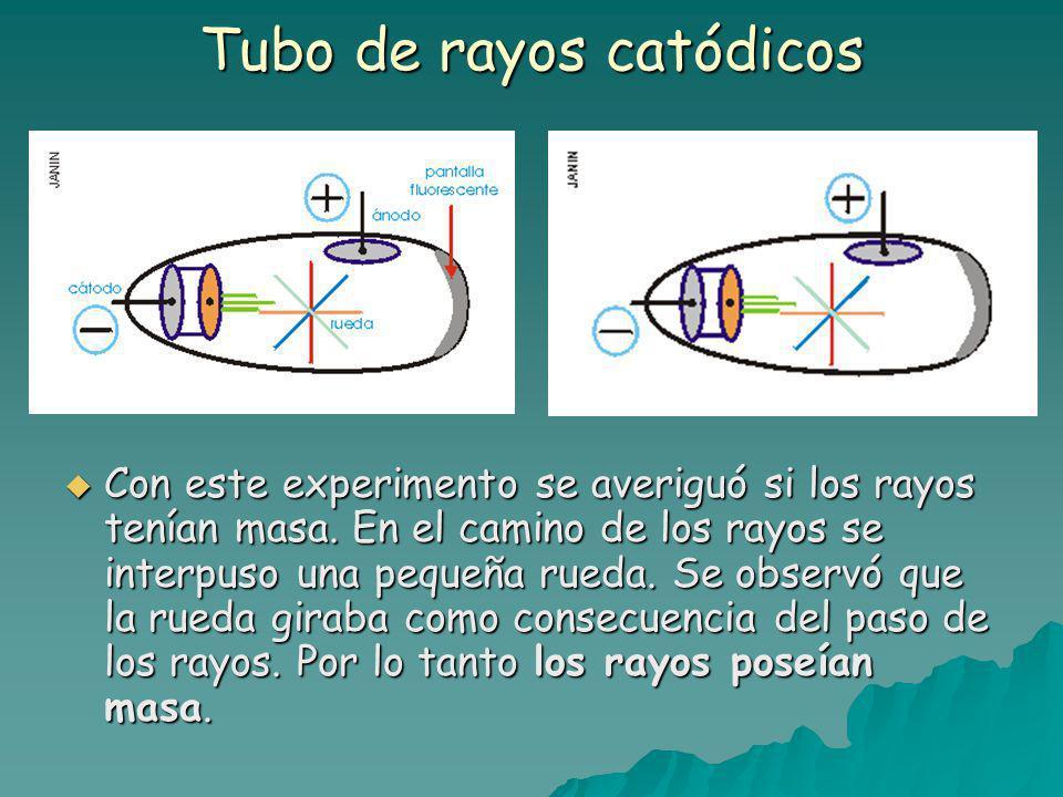 Tubo de rayos catódicos Con este experimento se averiguó si los rayos tenían masa.