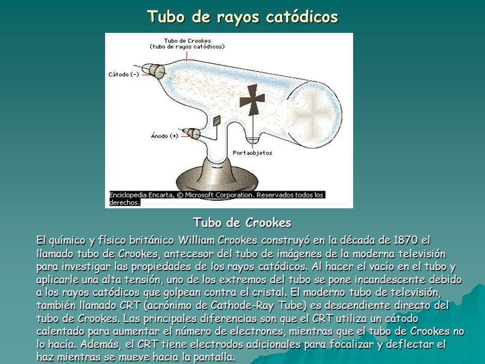 Tubo de rayos catódicos Tubo de Crookes El químico y físico británico William Crookes construyó en la década de 1870 el llamado tubo de Crookes, antecesor del tubo de imágenes de la moderna televisión para investigar las propiedades de los rayos catódicos.