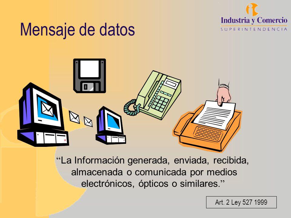 Mensaje de datos La Información generada, enviada, recibida, almacenada o comunicada por medios electrónicos, ópticos o similares. Art. 2 Ley 527 1999