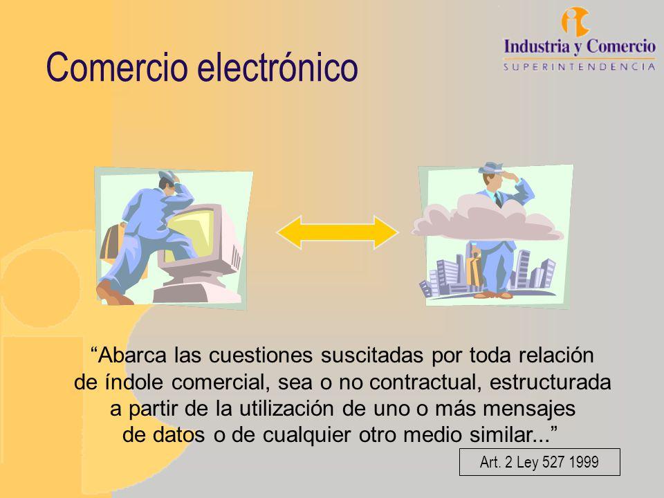 Comercio electrónico Abarca las cuestiones suscitadas por toda relación de índole comercial, sea o no contractual, estructurada a partir de la utiliza