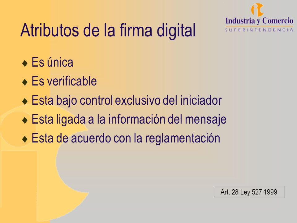 Atributos de la firma digital Es única Es verificable Esta bajo control exclusivo del iniciador Esta ligada a la información del mensaje Esta de acuer