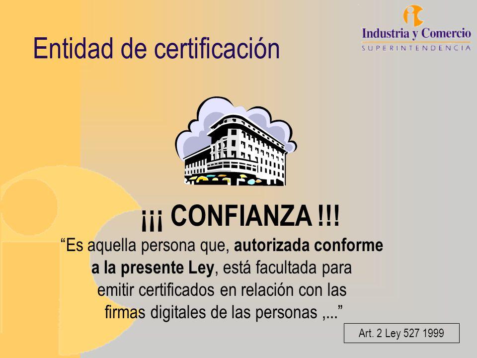Entidad de certificación ¡¡¡ CONFIANZA !!! Es aquella persona que, autorizada conforme a la presente Ley, está facultada para emitir certificados en r