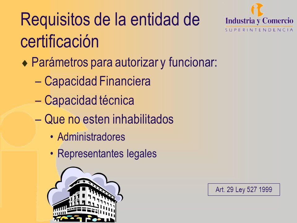 Requisitos de la entidad de certificación Parámetros para autorizar y funcionar: –Capacidad Financiera –Capacidad técnica –Que no esten inhabilitados