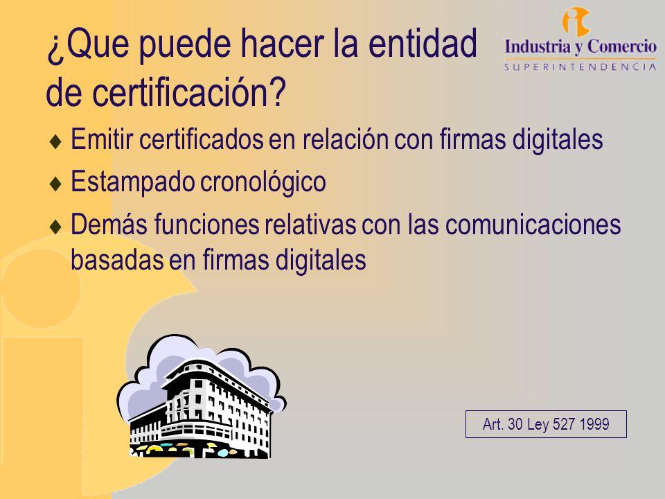 ¿Que puede hacer la entidad de certificación? Emitir certificados en relación con firmas digitales Estampado cronológico Demás funciones relativas con