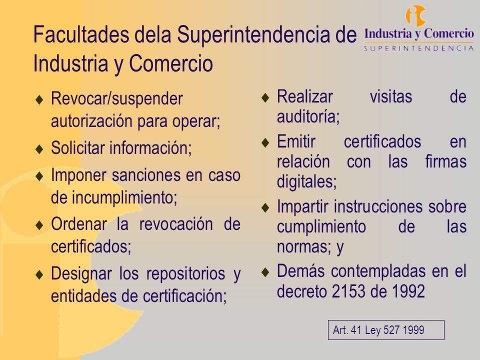 Facultades dela Superintendencia de Industria y Comercio Revocar/suspender autorización para operar; Solicitar información; Imponer sanciones en caso