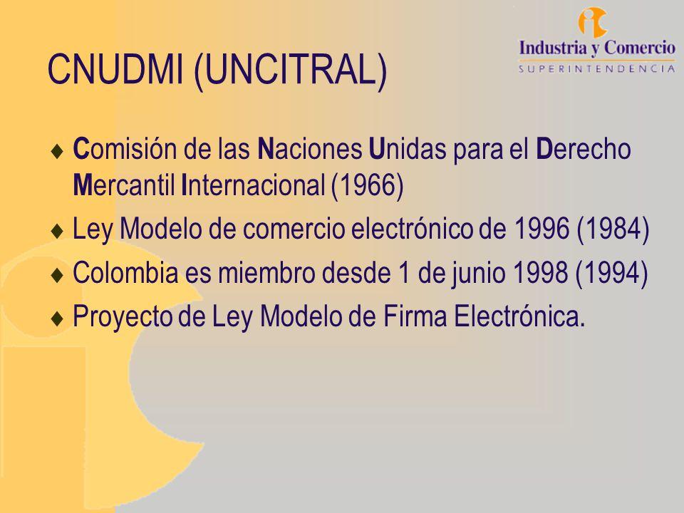 CNUDMI (UNCITRAL) C omisión de las N aciones U nidas para el D erecho M ercantil I nternacional (1966) Ley Modelo de comercio electrónico de 1996 (198