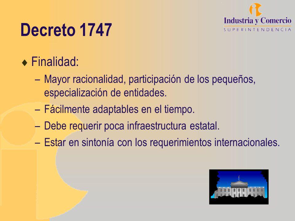 Decreto 1747 Finalidad: –Mayor racionalidad, participación de los pequeños, especialización de entidades. –Fácilmente adaptables en el tiempo. –Debe r