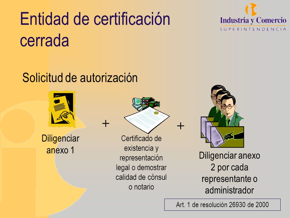 Entidad de certificación cerrada Solicitud de autorización + Certificado de existencia y representación legal o demostrar calidad de cónsul o notario