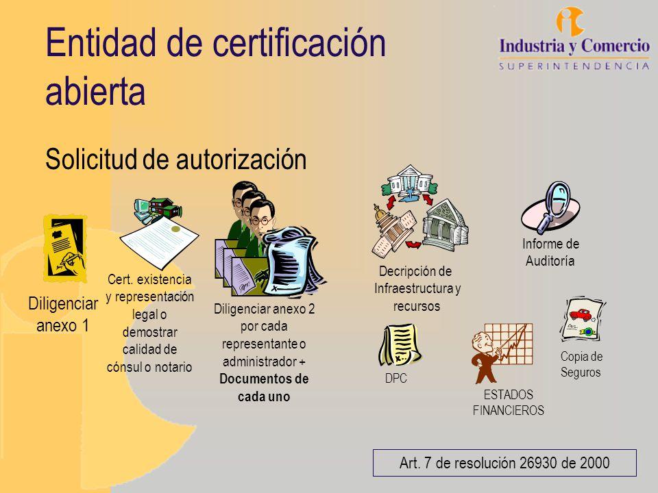Entidad de certificación abierta Solicitud de autorización Cert. existencia y representación legal o demostrar calidad de cónsul o notario Art. 7 de r