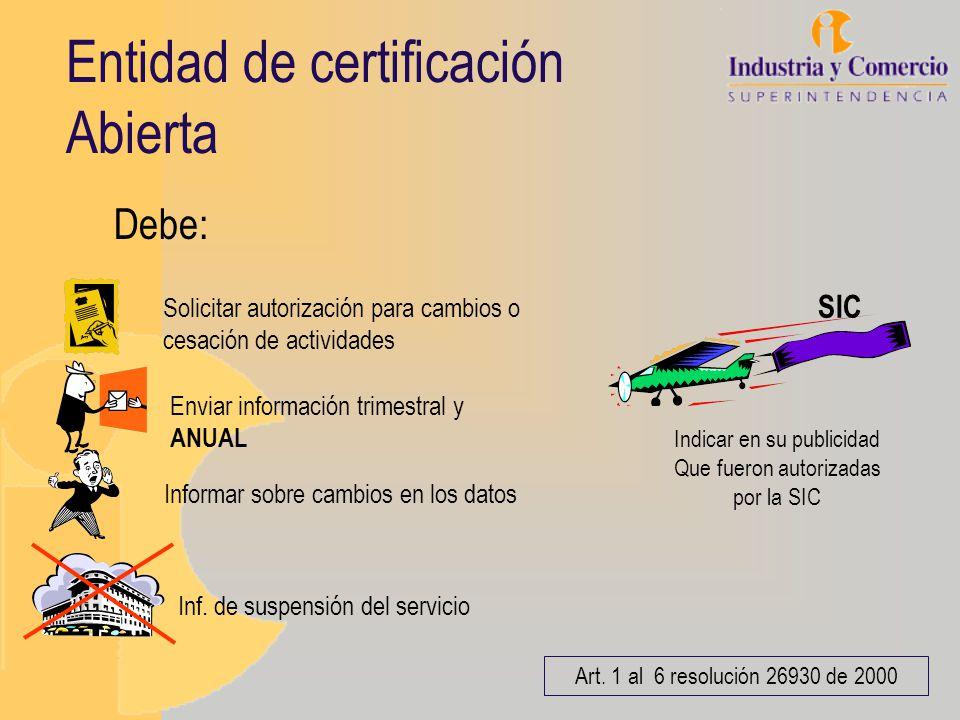 Entidad de certificación Abierta Art. 1 al 6 resolución 26930 de 2000 Debe: Inf. de suspensión del servicio Solicitar autorización para cambios o cesa