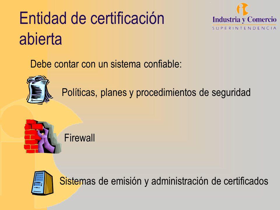 Entidad de certificación abierta Políticas, planes y procedimientos de seguridad Sistemas de emisión y administración de certificados Firewall Debe co