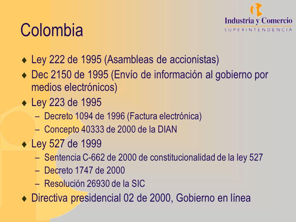 Colombia Ley 222 de 1995 (Asambleas de accionistas) Dec 2150 de 1995 (Envío de información al gobierno por medios electrónicos) Ley 223 de 1995 –Decre