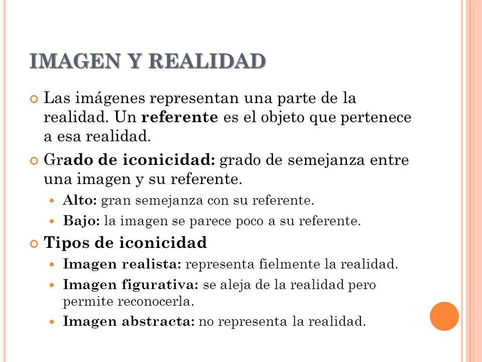 IMAGEN Y REALIDAD Las imágenes representan una parte de la realidad. Un referente es el objeto que pertenece a esa realidad. Gr ado de iconicidad: gra