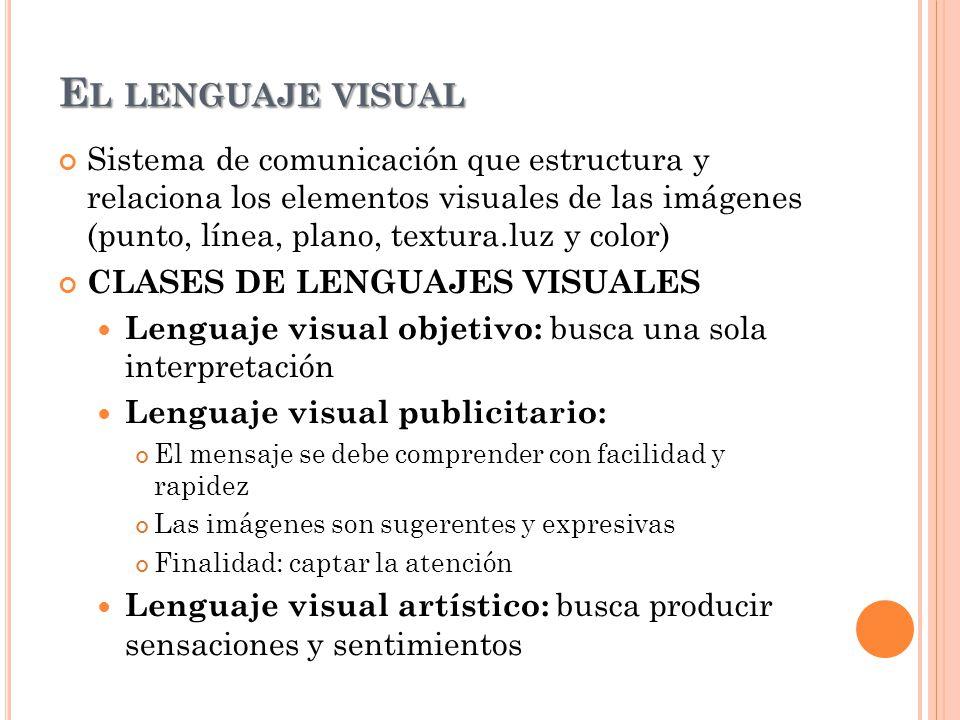 Sistema de comunicación que estructura y relaciona los elementos visuales de las imágenes (punto, línea, plano, textura.luz y color) CLASES DE LENGUAJ