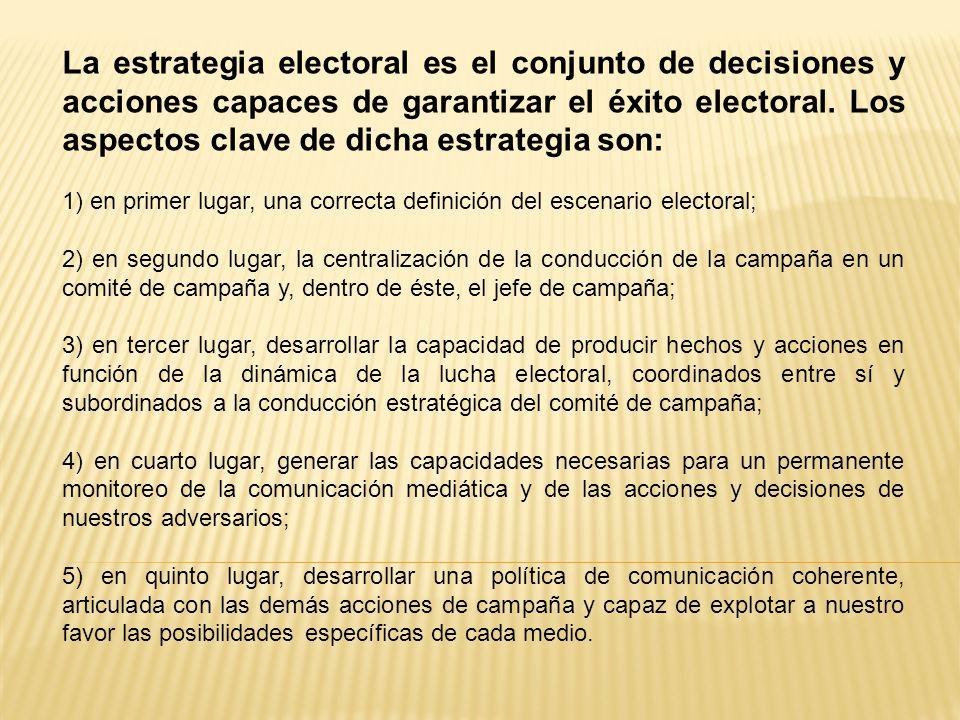 La estrategia electoral es el conjunto de decisiones y acciones capaces de garantizar el éxito electoral.