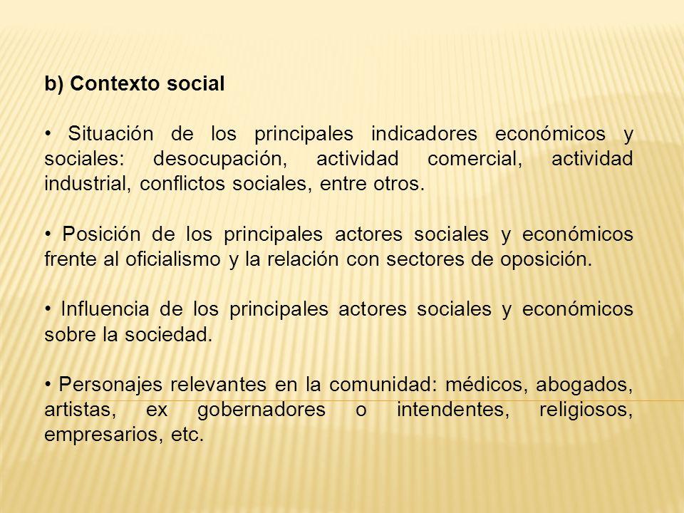 b) Contexto social Situación de los principales indicadores económicos y sociales: desocupación, actividad comercial, actividad industrial, conflictos sociales, entre otros.