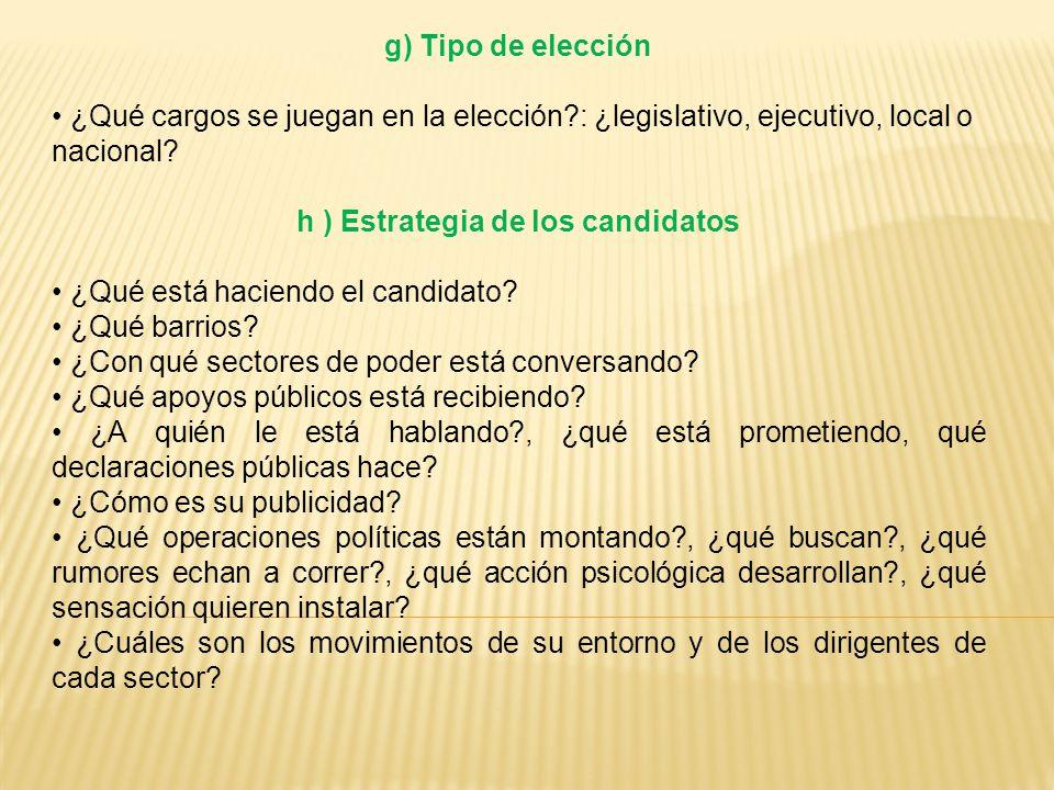 g) Tipo de elección ¿Qué cargos se juegan en la elección?: ¿legislativo, ejecutivo, local o nacional.