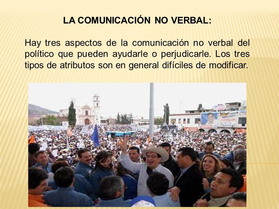 LA COMUNICACIÓN NO VERBAL: Hay tres aspectos de la comunicación no verbal del político que pueden ayudarle o perjudicarle.