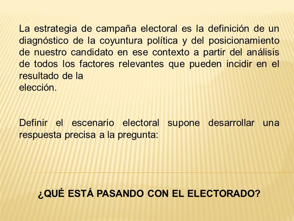 La estrategia de campaña electoral es la definición de un diagnóstico de la coyuntura política y del posicionamiento de nuestro candidato en ese contexto a partir del análisis de todos los factores relevantes que pueden incidir en el resultado de la elección.