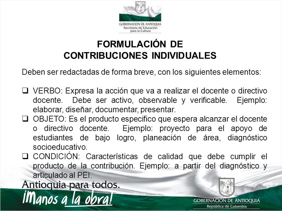 FORMULACIÓN DE CONTRIBUCIONES INDIVIDUALES Deben ser redactadas de forma breve, con los siguientes elementos: VERBO: Expresa la acción que va a realizar el docente o directivo docente.