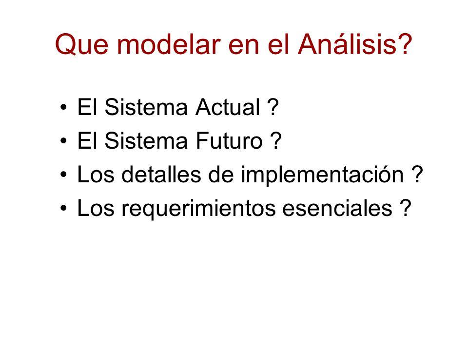 Que modelar en el Análisis? El Sistema Actual ? El Sistema Futuro ? Los detalles de implementación ? Los requerimientos esenciales ?