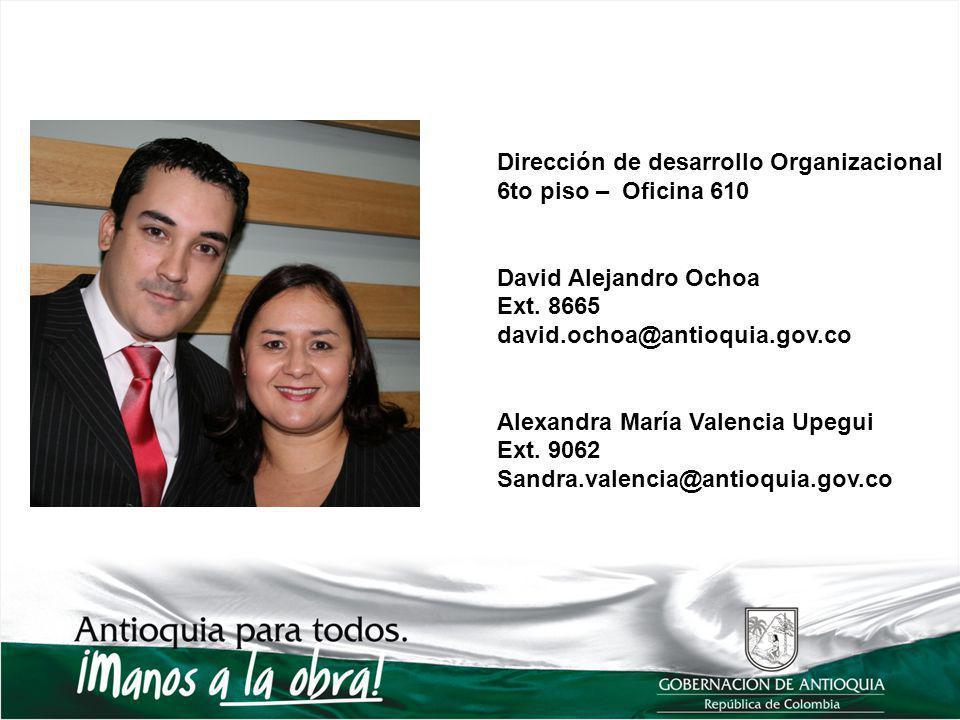 Dirección de desarrollo Organizacional 6to piso – Oficina 610 David Alejandro Ochoa Ext. 8665 david.ochoa@antioquia.gov.co Alexandra María Valencia Up