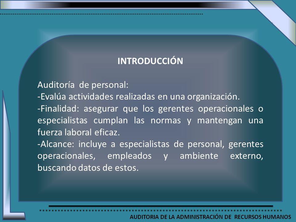 AUDITORIA DE LA ADMINISTRACIÓN DE RECURSOS HUMANOS INTRODUCCIÓN Auditoría de personal: -Evalúa actividades realizadas en una organización. -Finalidad: