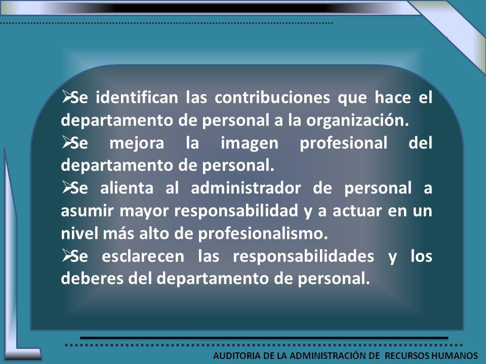 AUDITORIA DE LA ADMINISTRACIÓN DE RECURSOS HUMANOS Se identifican las contribuciones que hace el departamento de personal a la organización. Se mejora